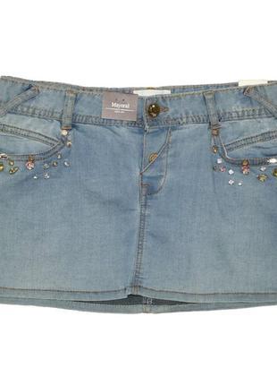 Новая джинсовая юбка с камнями для девочки, mayoral, 6936