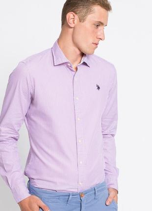 Розовая рубашка в белую полоску us polo assn