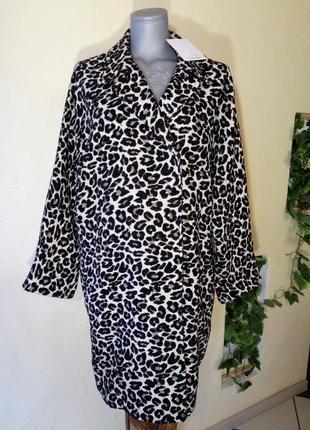 Актуальное леопардовое пальто-кокон,батал большой размер
