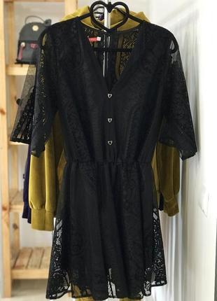 Шикарне ажурне плаття, гипюрове плаття, чорний колір