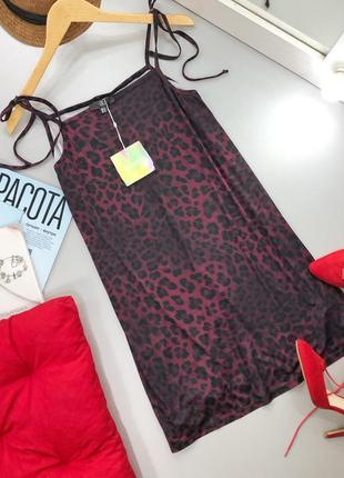 Стильное платье в леопардовый принт на завязках missguided