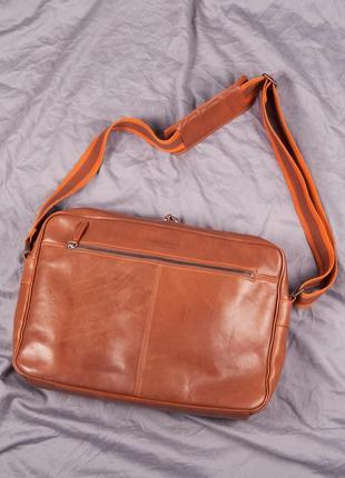 Кожаная сумка / портфель через плечо navy boot
