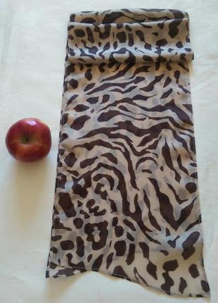 Натуральный шелк шарфик бежево-коричневый,25*159
