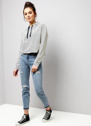 Крутые рваные укороченные джинсы скини