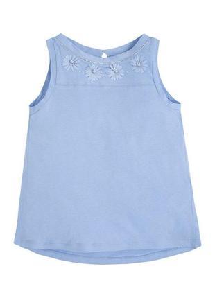 Новая голубая футболка без рукавов для девочки, mayoral, 6096