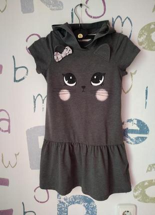 Платье h&m кошечка девочка 6-8 лет в идеале