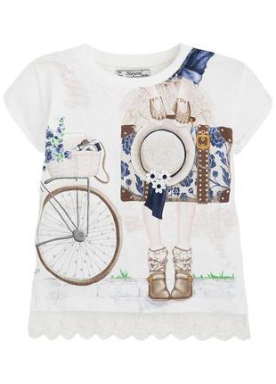 Новая молочная футболка с рисунком для девочки, mayoral, 3017