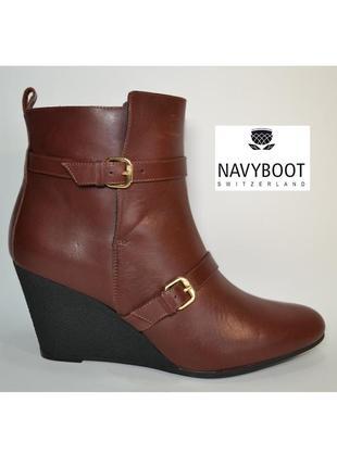 Р.40.5-41 navyboot италия оригинал натуральная кожа! стильные комфортные ботинки ботильон