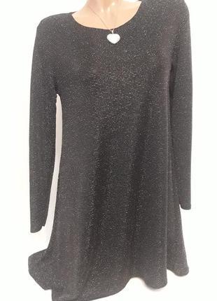 Черное с серебром платье