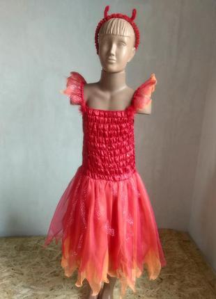 Платье чертовки чертенка на хэллоуин 11-12 лет