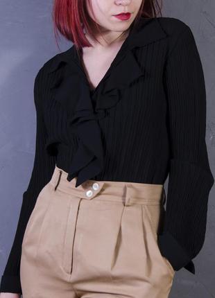 Черная полупрозрачная блуза с воланом, шифоновая рубашка marks& spencer
