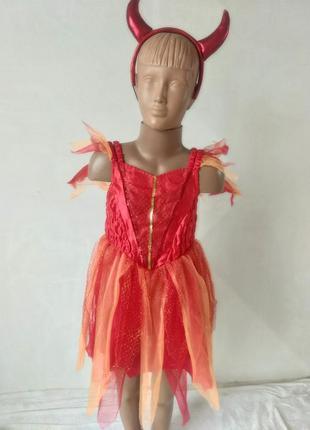 Платье чертовки чертенка 5-6 лет на хэллоуин с рожками