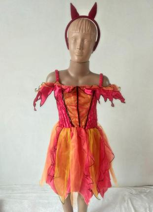 Карнавальное платье чертовка чертенок чертик огонек ведьмочка 7 8 лет
