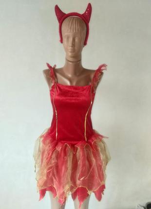 Платье чертовки чертенка на хэллоуин 8-10лет по бирке большемерит