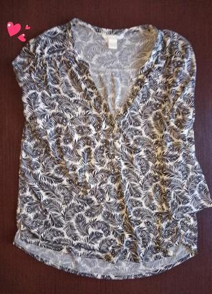 Трикотажная кофточка, блуза в чёрно-белый принт, молодежная одежда
