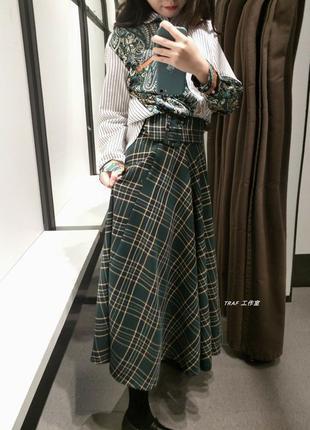 Крутая юбка солнцеклеш под пояс от zara! в наличии размер s