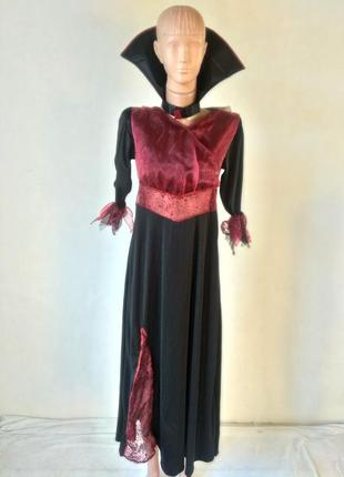 Платье ведьма колдунья 11-13 лет 146-158 с воротом и клыками