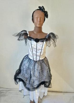 Карнавальное платье мертвая невеста призрак привидение 9-10 лет 134-140 см