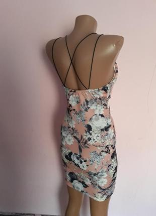 Сексуальное брендовое платье-футляр бандажное платье  на бретелях в цветочный принт