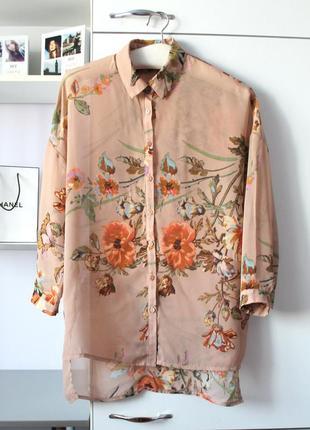 Воздушная шифоновая рубашка в цветы от new look