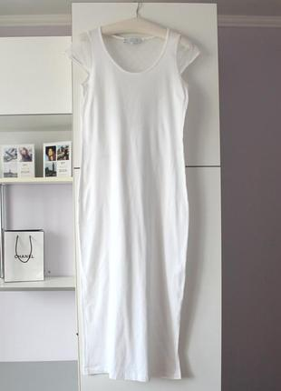Белое длинное хлопковое платье с кружевной спинкой от laurence tavernier