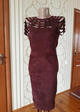 In vogue элигантное модное стильное нарядное платье ткань под замш