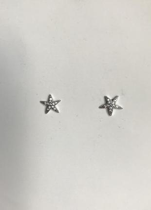 Серебряные пусеты гвоздики серьги с фианитами