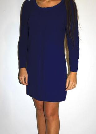 Синее платье цвета индиго, по груди косичка - на рукавах молнии