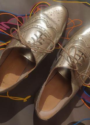 Кожаные туфли броги оксфорды