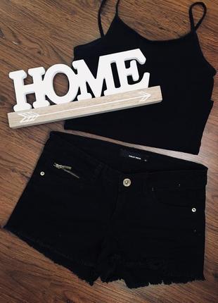 Чорні джинсові  шорти tally wеіjl, висока посадка