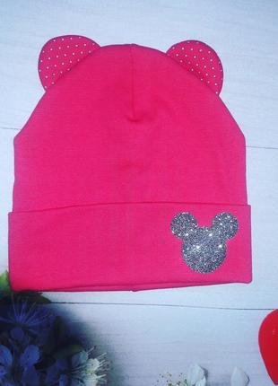 Детская шапка двойной трикотаж для девочки микки малиновая  р.48-50
