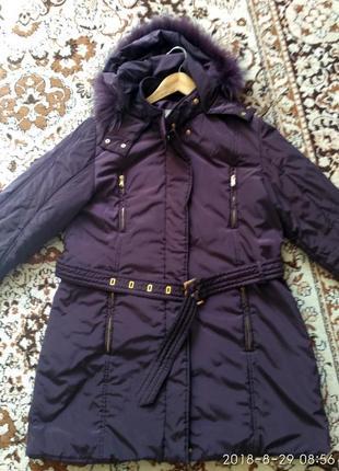 Замечательная теплая куртка-пальто с натуральным мехом лисы р. 14-16