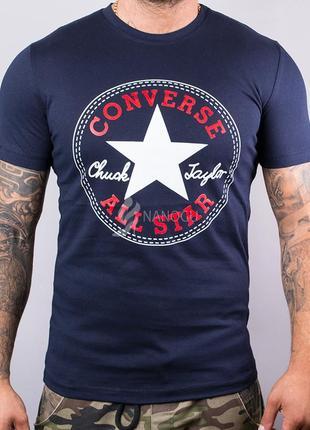 Футболка мужская хлопковая converse темно-синяя