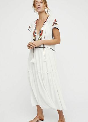 Длинное белое платье вышиванка макси из вискозы в стиле бохо этно от free people l.