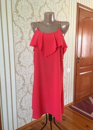 Суперстильное красочное  платье в коралловом цвете