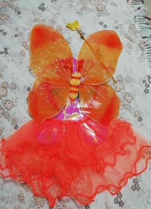 Карнавальный новогодний костюм феи, бабочки на 2-4 годика
