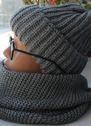 Sale! новый комплект: шапка с подворотом и хомут восьмерка, темно-серый2
