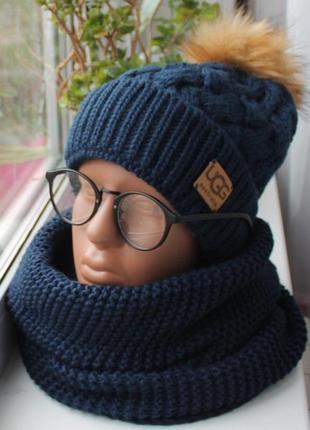 Sale! новый комплект: шапка (на флисе) и хомут восьмерка, темно-синий