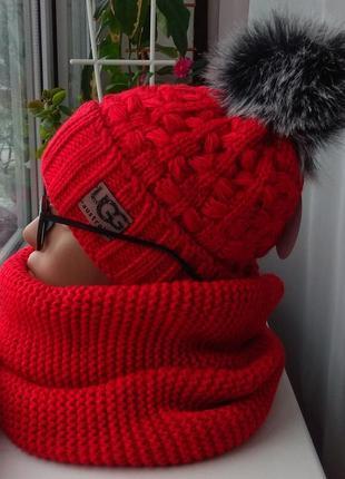 Sale! новый комплект: шапка (на флисе) и хомут восьмерка, красный