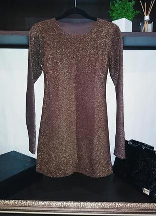 Платье туника люрекс золото