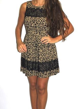 Леопардовое платье с кружевом (пог 47см ) срочная продажа