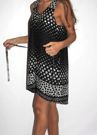 Черное платье туника в горошек, спинка удлиненная --   срочная продажа --