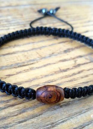 Чоловічий плетений браслет шамбала з бусиною дзи