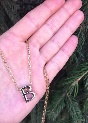 Именной золотистый кулон буква в б b на цепочке бижутерия