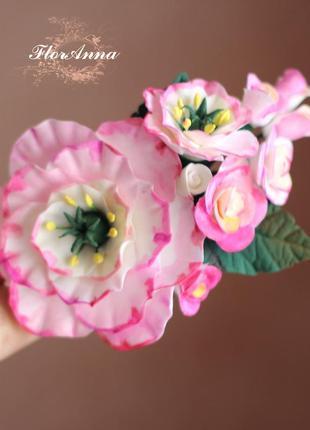 """Заколка/брошь """"розовые эустомы c розами"""""""