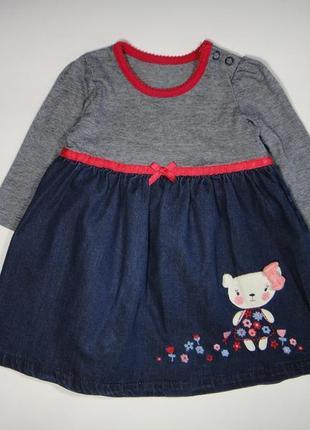 Платье george с джинсовой юбкой 3-6 мес, 62-68 см