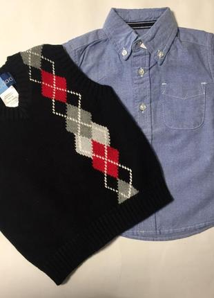 "Комплект на год-полтора: рубашка и жилетка ""place est.1989"", оригинал сша"