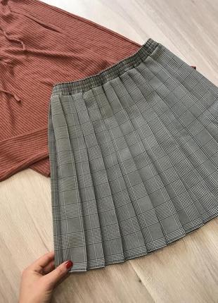 Новая юбка спідниця школьная в чорно-белую клетку клітку плисе плісе