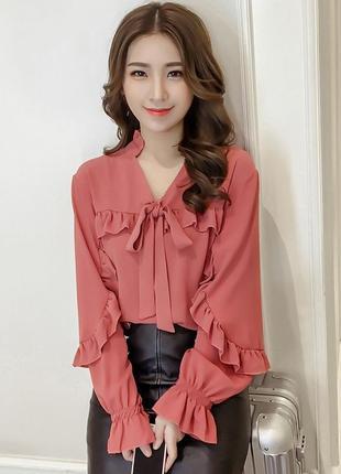 Шифоновая блуза с воланами и рюшами warehouse, l-xl