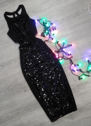 ❤️ эффектное черное платье миди в паетках с открытыми боками и красивой спиной asos